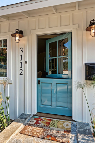 entry area with close up of blue dutch door