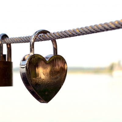 heart lock with square locks behind it