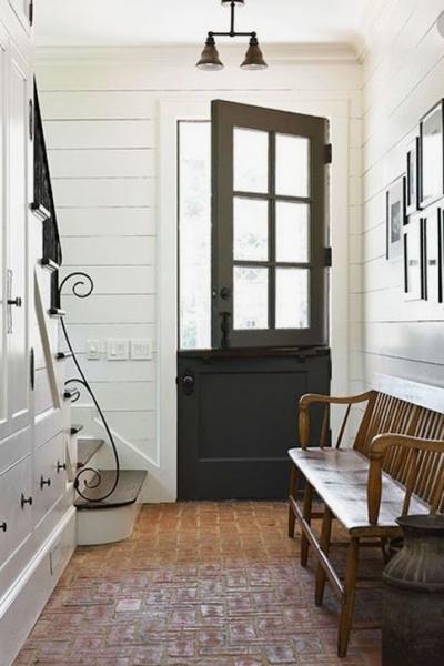 interior photo of black dutch entry way door