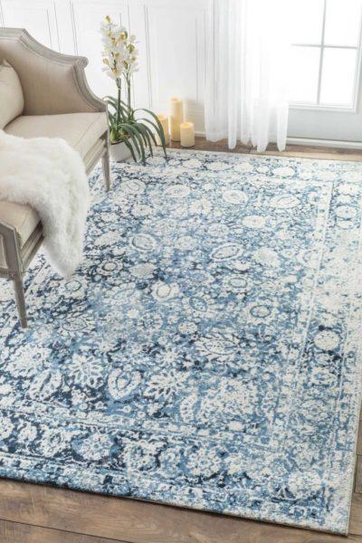 indigo and white woven area rug