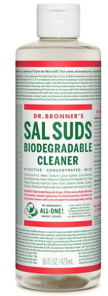 bottle of Dr. Bronner's Sal Suds 5 dog farm