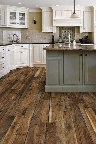 brownish grey plank flooring in kitchen
