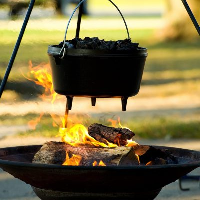 Dutch oven over campfire