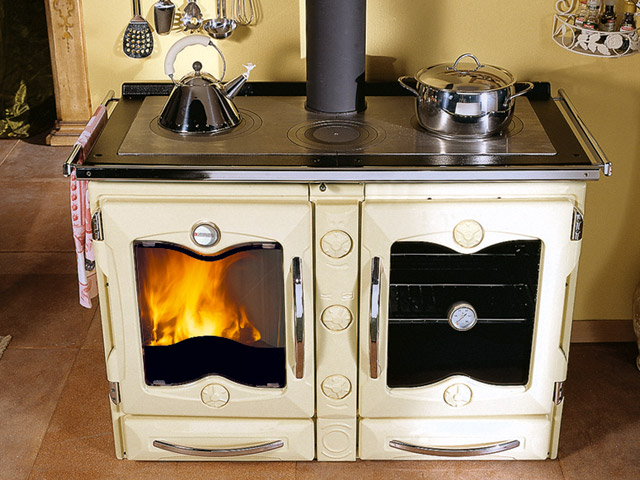 la nordica wood fire stove in ivory