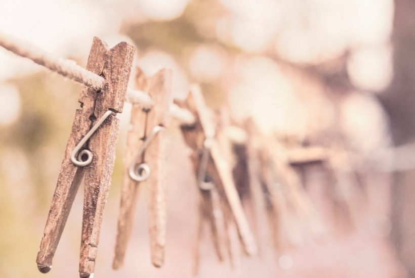 clothes pins on laundry line