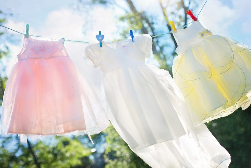 girls dresses on laundry line