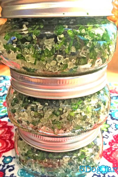 herb salt in mason jars