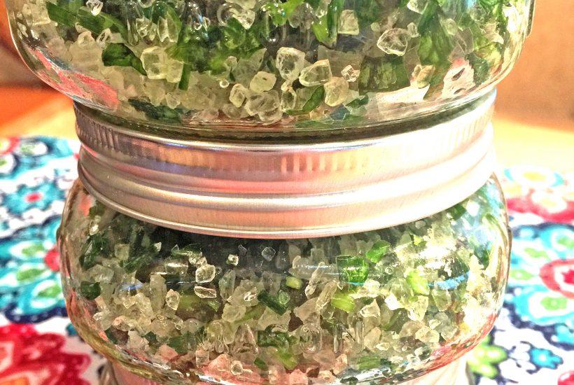 herb salt in mason jars