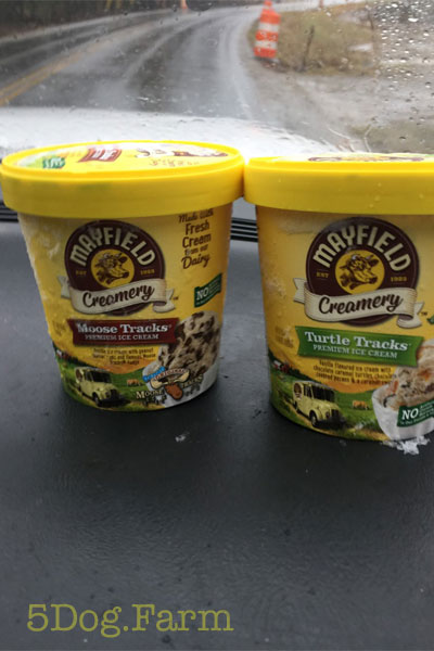 two cartons of Mayfield ice cream