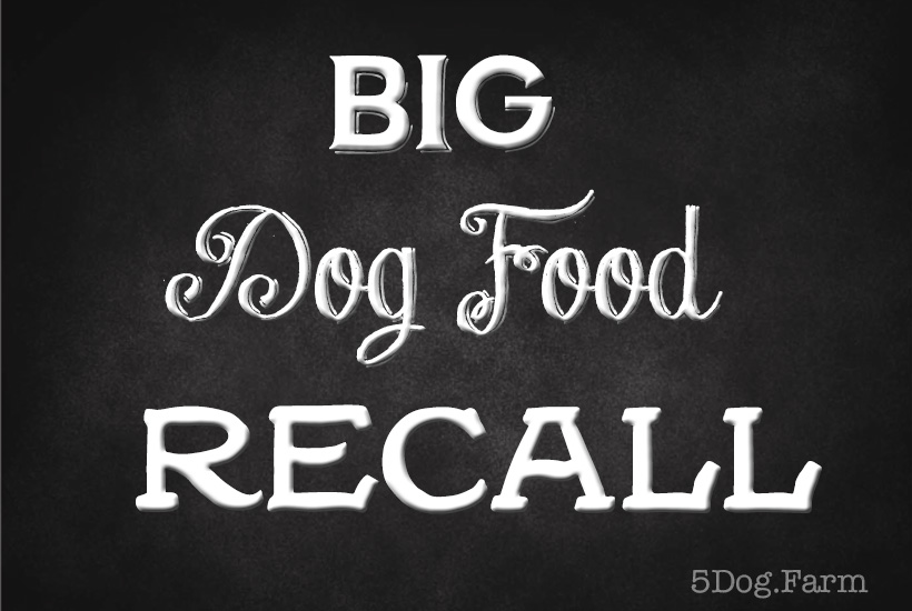 blackboard with big dog food recall 5 dog farm