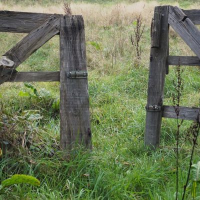old wooden gate open
