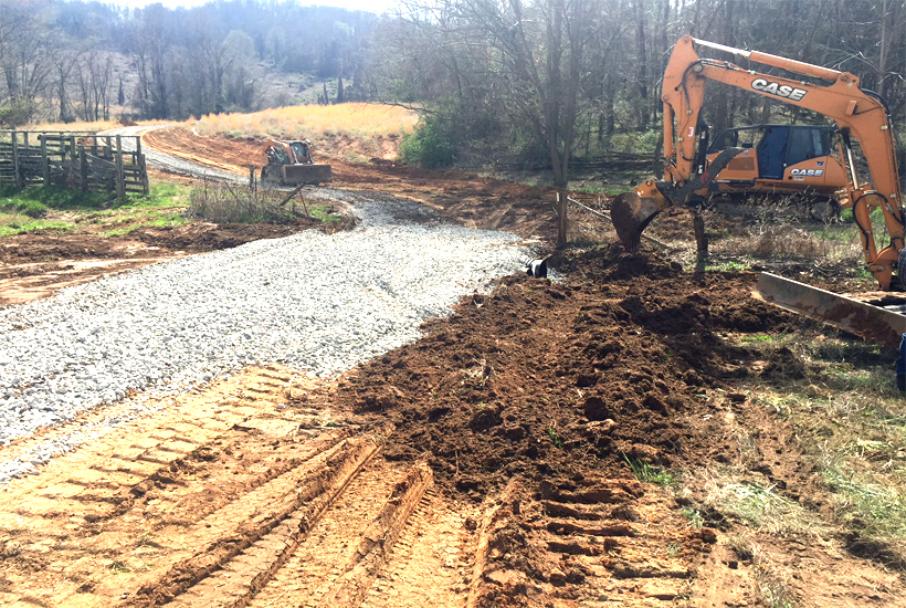 two culverts being installed 5 dog farm
