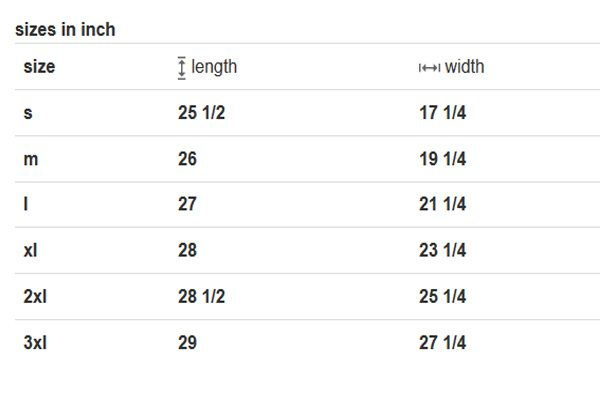 GBOGH Womens size chart