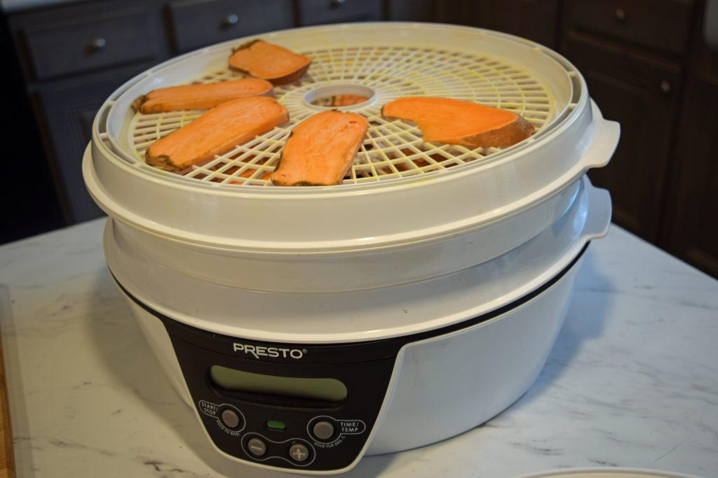 sweet potato slices on dehydrator 5 dog farm