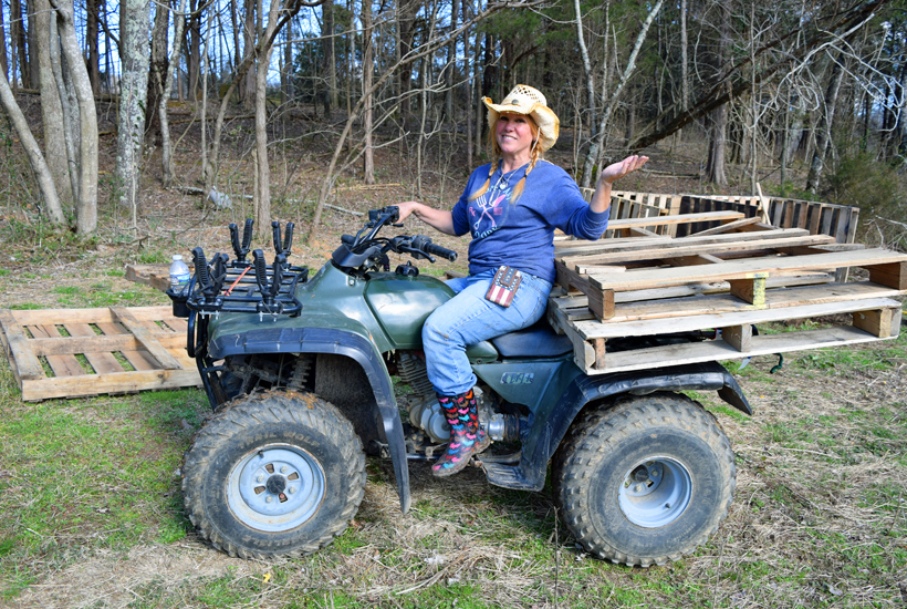 NikiDee on ATV with pallets 5 Dog Farm