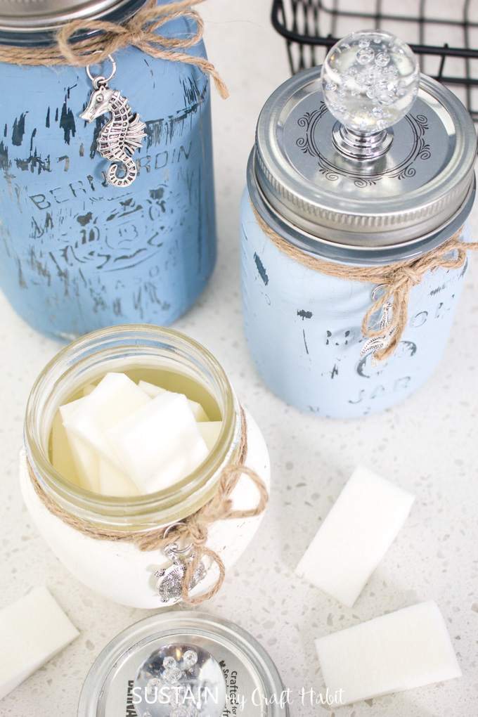Chalky Painted Beach Inspired Mason Jars
