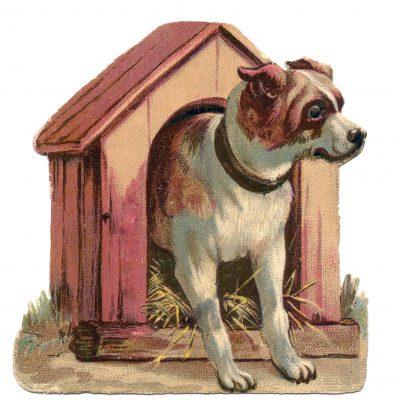 vintage dog in doghouse