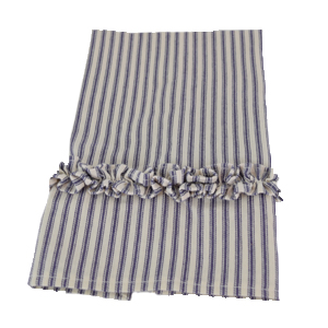 blue ruffled ticking tea towel folded