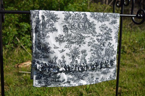 black and white toile tea towel